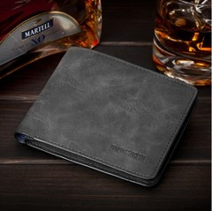 Fashion men's wallet youth slim wallet Men's short card bag student wallet black one size
