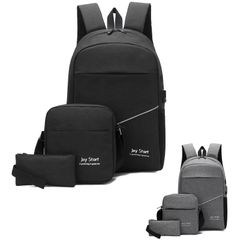 Three piece men's laptop Bags backpack Black FREE SIZE