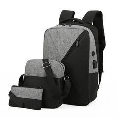 Three-piece computer shoulder bag Oxford spinning bag men's and women's shoulder bag business bag Gray one size