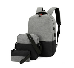 Three-piece stitched high-capacity backpack USB charging multi-purpose travel shoulder bag Black 10inch