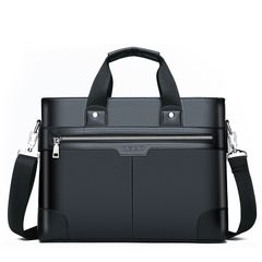 Men's Briefcase Men's Business Shoulder Messenger Bag laptop bag Black one size