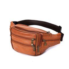Men's waist bag retro casual sports chest bag tide men's single shoulder backpack Brown one size