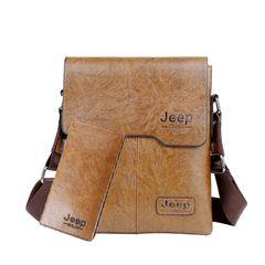 Two-piece men's one-shoulder bag Business casual men's stiletto bag retro trend men's bag Brown one size
