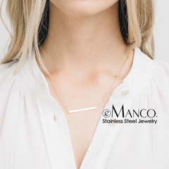 Women 40*3mm Horizontal Strip Necklace Pendant Simple14K Gold Stainless Steel   Holiday Gift Jewelry rose gold 42cm+tail chain 8cm