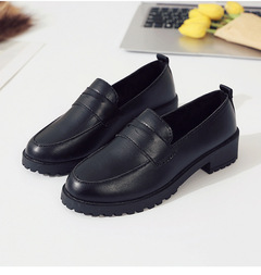 Women's high heels peas shoes 2019 comfortable small shoes mother shoes thick with a pedal bright black 35
