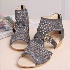 Women's shoes high to help fish mouth hollow sandals after zipper wedge with rhinestones Roman shoes black 36