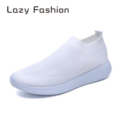 Large size women's shoes explosion models flying woven socks shoes elastic cloth super lightweight white 39