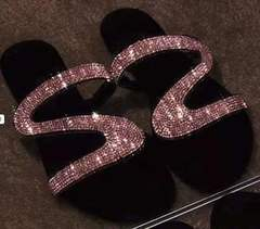 Black ladies rhinestone flat sandals and slippers Pink drill 37