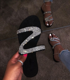 Black ladies rhinestone flat sandals and slippers Silver diamond 39