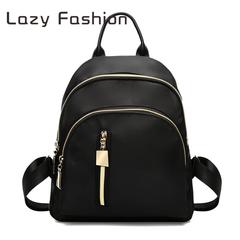 Women's bag Oxford cloth shoulder bag 2019 new Korean version of the backpack black wild models black One size