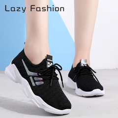 Sports women's shoes fly woven mesh Korean version of the wild casual breathable tie black 39