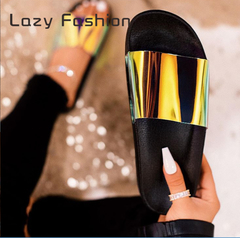 Slippers European and American fashion casual sandals women's flat shoes large size 36-42 black 36