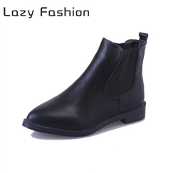 Women's boots new short boots British wind pointed Chelsea boots elastic thick heel and bare boots Black velvet 40