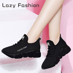 Women's sports shoes fly woven breathable thick bottom wild casual shoes single shoes White black 39
