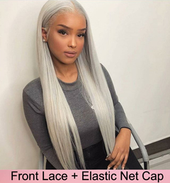 Front lace wig Long straight grey hair Long straight hair wigs hair wigs ladies wigs for women picture color 14 inch
