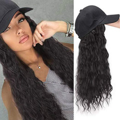 1~5 working days delivery,Hat and wig in one wig cap wig caps wigs hair Long curly hair black hat+wig(10cm+60cm))