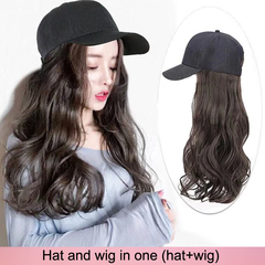 1~5 working days delivery,Hat and wig in one wig cap wig caps wigs hair Long curly hair black average size