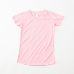 Women Sport Running T Shirt Pure Color O-neck Slim Fast-drying Short Sleeves Sportswear Pink M