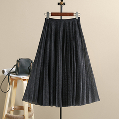 High Waist Midi Vintage Women Skirt Pleated Elastic Ladies Dress Black L