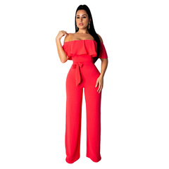 Women's fashion solid color ruffled tube top wide leg jumpsuit red s