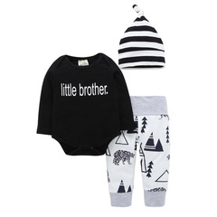Baby Boy Clothes 3-pieces Rompers Pant and Hat Black 70 Cotton