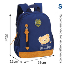 2019 Hot Kids Kindergarten School Bag Backpack with Bear Images for Boys and Girls blue S