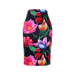 S-4XL women slim skirts 3D flower print fashion girls pencil faldas vogue ladies new casual bottoms WWP021 xxl