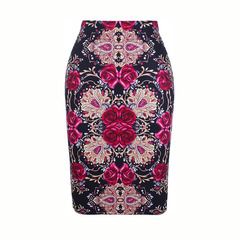 S-4XL girl pencil skirt Gorgeous Blooming Rose flower print fashion women midi bottoms S-4XL WWP081 S