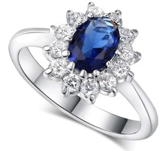 Blue Gem Created Blue Crystal Silver Color Wedding Finger Crystal Ring Brand Jewelry for Women silver 6