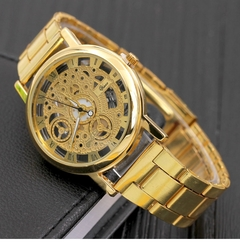 Fashion watchs men Non-mechanical Hollow Stainless Quartz Watch for smartwatch Stainless Steel Case gold one size fits all
