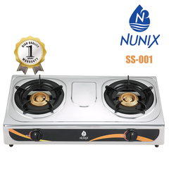 Nunix  Gas Stove Table Top Stainless Steel Double Burner-SS001