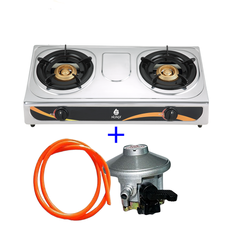 Nunix Table Top Stainless Steel Double Burner-SS001  + Free hose pipe and 13 Kgs Regulator