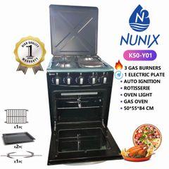 Nunix K50-Y01 50*55*84cm Free Standing Cooker - 3 Gas + 1 Hotplate