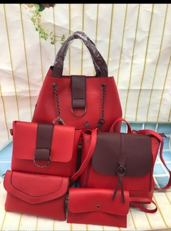 5 in 1 Elegant ladies Handbag with a backpack red one size