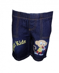 Dorris & Morris Blue Denim Kids Printed Cartoon Shorts blue denim 2t