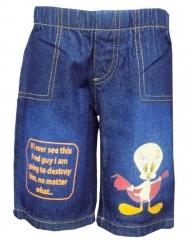 Alladin-Dorris & Morris Blue Denim Kids Printed Cartoon Shorts-Fred blue denim 2t