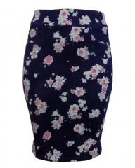 Alladin-Navy Blue Floral Print Pencil Skirt - Navy Blue Floral, 8