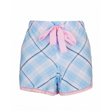 Alladin-Blue Pink With Multi Stripe Print Sleep Wear Boxer Short Blue Pink S