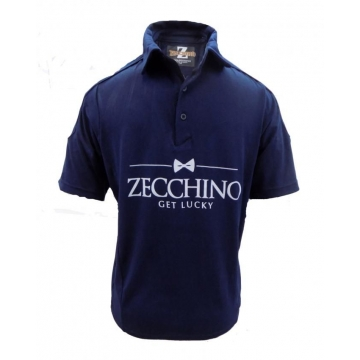 Alladin-Night Blue Printed Text Short Sleeved Polo Shirt Night Blue S