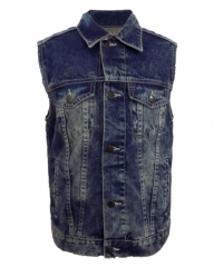 Alladin-Blue Lt Wash - Sleeveless Jean Jacket Blue S