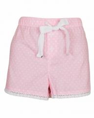 Alladin-Pink White Dot Print Sleep Wear Boxer Short Pink White L