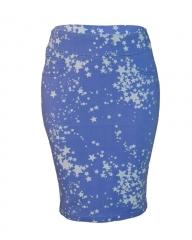 Alladin-Blue Star Print Pencil Skirt blue 12