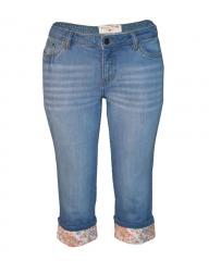 Alladin-Ladies Capri Jeans With Printed Flower Hem dark blue 6