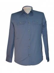Alladin-Navy Blue Mens Long Sleeved Shirt navy blue s