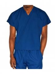 Alladin-Royal blue Unisex V Neck Top Work Wear Royal Blue s