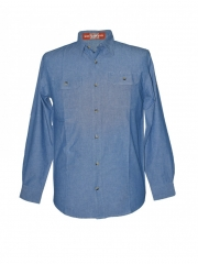 Alladin-Blue Mens Long Sleeeved Chambray Shirt blue s