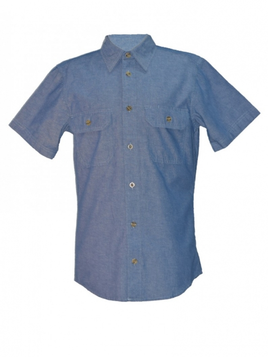 Blue Mens Short Sleeved Chambray Shirt blue s
