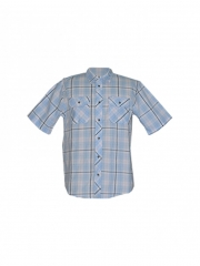 Alladin-Blue Checked Short Sleeved Mens Shirt blue checked s