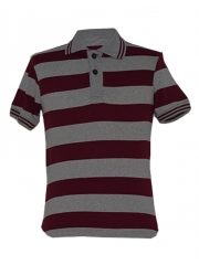Alladin-Maroon/ Grey Stripped Mens Polo Shirt maroon/grey s cotton