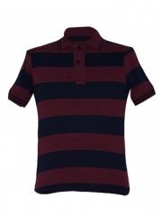 Alladin-Maroon/ Navy Stripped Mens Polo Shirt maroon/navy s